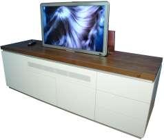 Mediaboard mit TV Lift Messemöbel AV Weibel